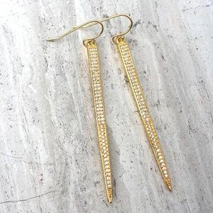 14K gold/sterling silver CZ spike Earrings